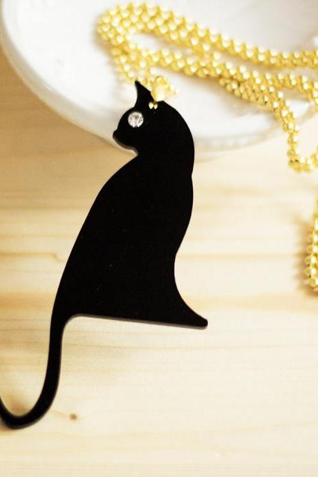 Black Cat Charm Necklace,Halloween Jewelry